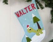 Christmas Stocking-Dinosaur with Santa Hat Personalized