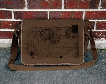Carte Postal - Unisex Brown Canvas Messenger Bag