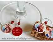Wine Glass Charm: Personalized Wedding Anniversary Engagement Wine Glass Tags -  Gift or Favor (Set of FOUR)