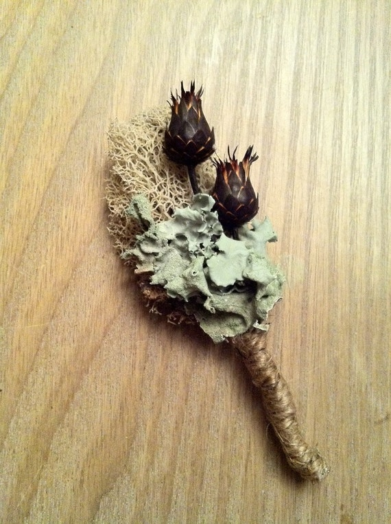 Lichen MOSS Boutonniere by The Boutonniery