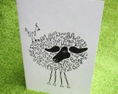 SHEEP Word Art CARDS, Set of 4