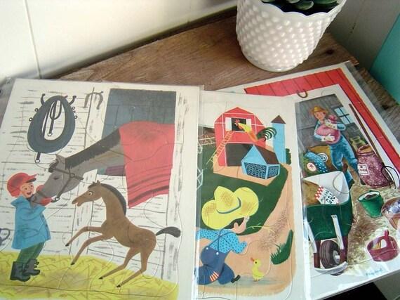 Set of 3 Vintage Playskool Cardboard Childrens Puzzles