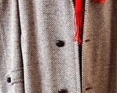 Vintage Mens Tweed Overcoat in Brown Cream Orange L XL