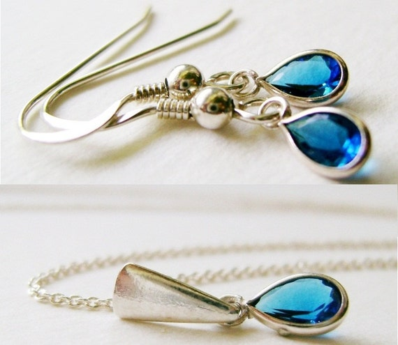 Handmade Everyday Set-Tiny Tears Sapphire Blue Cubic Zirconia Sterling Silver Pendant with Chain and Matching Earrings