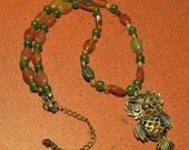 Woodland Forest Autumn Necklace with Vintage Style Owl, Jade and Agate - Gifts for Her under 50 Dollars