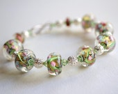 Pink and Green Spring Lampwork Glass Memory Wire Bracelet