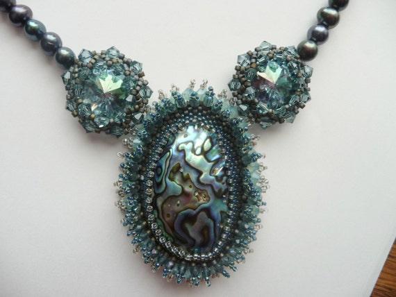 Mermaid's Bounty - Beadwoven Abalone Shell and Crystal Rivoli's
