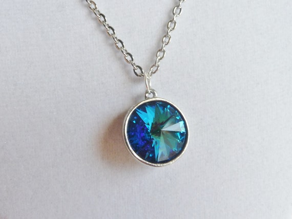 Capri Blue Rivoli Necklace- Deep Aqua Blue With Flashes of Green and Dark Sapphire - Crystal Pendant Necklace, Birthstone