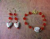 Clearance / Destash Ayla's Bead Creations  Porcelain Heart & red glass bead Bracelet Earring Set, Valentines