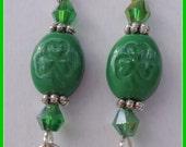 Clearance / Destash Ayla's Bead Creations Shamrock Crystal dangle St Patricks earrings