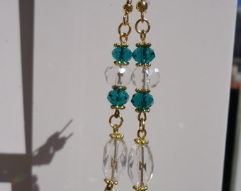 Clearance/destash Green Crystal dangle earrings by Ayla's Bead Creations, great christmas stocking gift