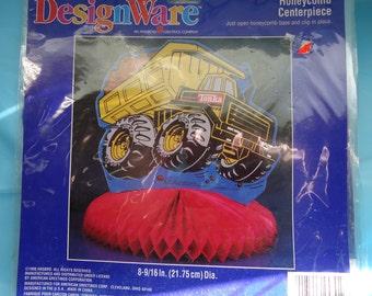 Clearance / Destash Set of 3 Tonka truck  tabletop honeycomb centerpiece