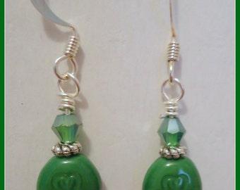 Ayla's Bead Creations St Patty's Day Shamrock green crystal dangle earrings