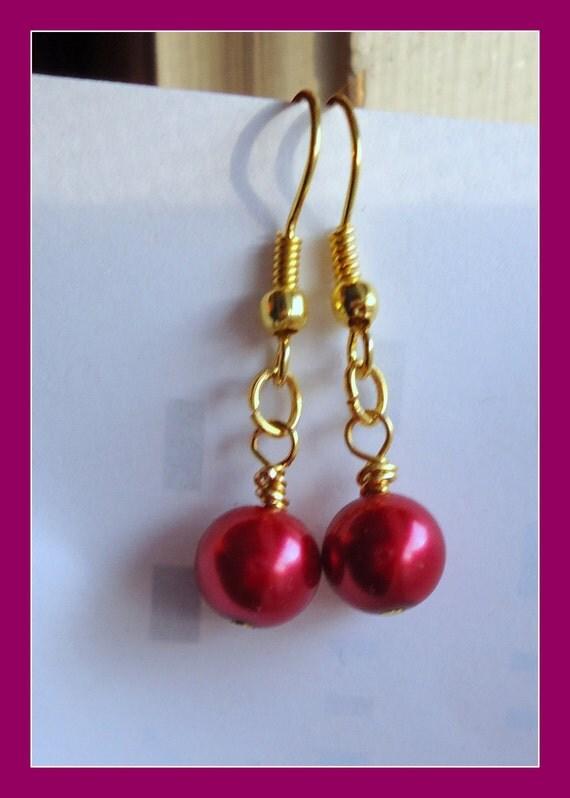 Clearance/destash Ayla's Bead Creations Mauve Red Pearl glass drop earrings