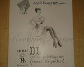 Vintage French Ad - DL nylons 1951