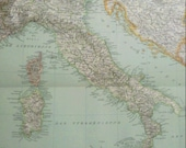 Antique Map of Italy  1890 Large map of Italy