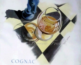 Original Vintage Mid Century French Poster Ad for Martell Cognac Chess Game 1951