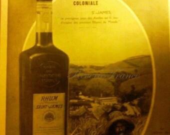 Vintage French Ad 1933 St James Rum, Rum Vintage Advert