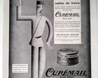 Original Vintage Art Deco French Ad - Curémail 193O