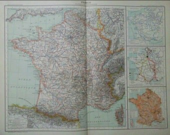 Antique French map - 1890 Large Map of France Political