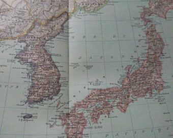 Antique Map of Japan and Korea - 1891 Large map of Japan and Korea