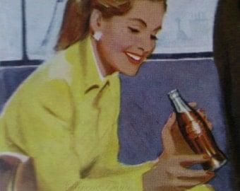 Original Vintage French Ad - Coke 1954 Coca Cola Midcentury Ad