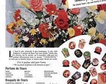 Original Vintage French Ad  Concreta Molinard French parfum flowers Rare 18th Century parfumerie