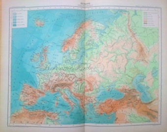 Antique Physical Map of Europe 1891 Large French Physical Map of Europe