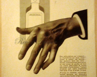 Original Vintage French Ad - Urodonal Elixor for Aching Joints medicine 1930