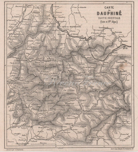 Antique French map from 1860- The Dauphine- France