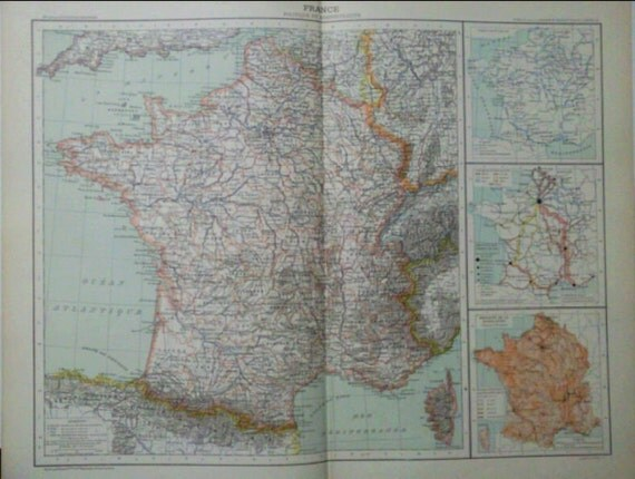Antique French map - 1891 Large Map of France Political