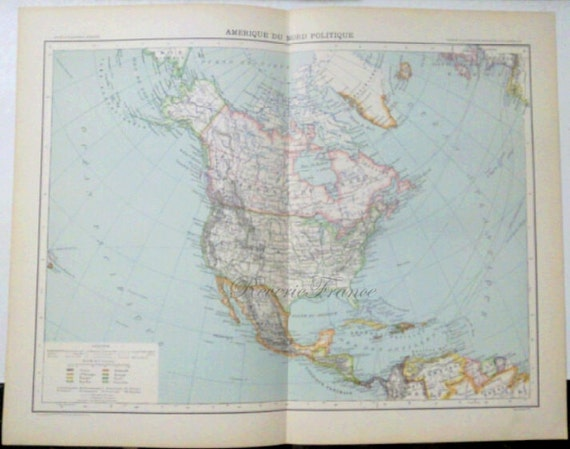 Antique Map of North America political - 1891 United States, Canada and Mexico Large Map