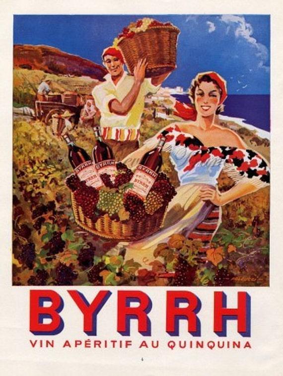 Original Vintage French Ad - Byrrh 1954
