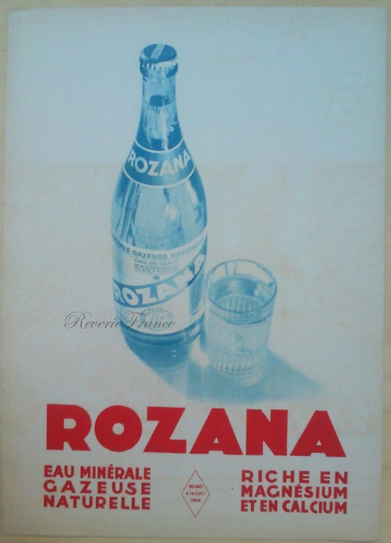 Original Vintage Art Deco French Ad - Rozana Sparkling Water 1930