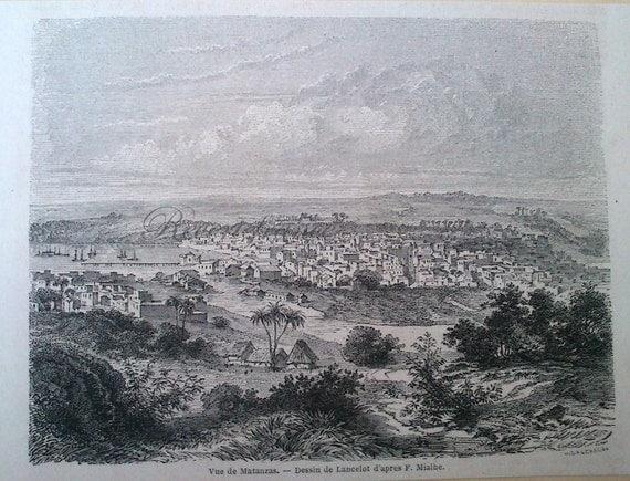 Franais Antique gravure dune vue de Matanzas, Cuba 1860