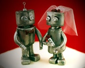 Custom Robot Wedding Cake Toppers - Personalized