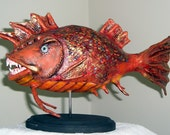 Fanged Fantasy Fish Nightmare Eater OOAK Creepy Carp Angler