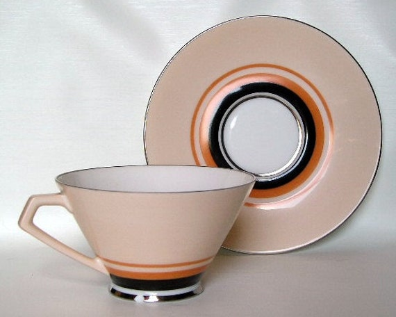 Retro Deco Noritake China Cup and Saucer Orange Black Peach Pre 1950s
