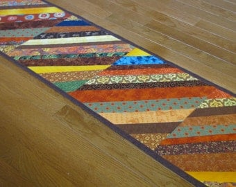 Table Runner Quilted Brown and variety of  Colors, Entertaining or  Everyday, Handmade