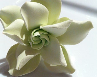 Maui Bridal Hair Flower Mint Green Hawaiian Gardenia, Bridal florals, Wedding Keepsake Clay Florals, Free Shipping USA, Handmade, Decoration