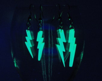 Lightning Bolt Earrings UV Black Light Glow