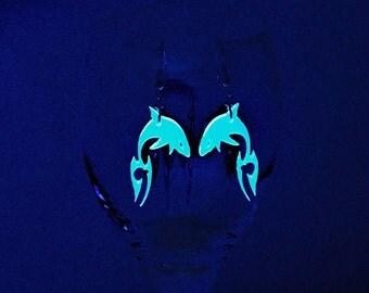 Shark Earrings UV Black Light Glow