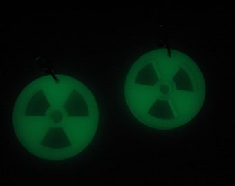 Glow in the Dark Radioactive Material - the Trefoil Symbol Acrylic Earrings or Necklace