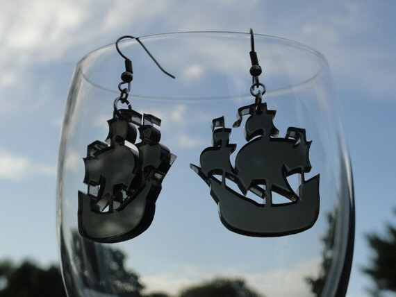 Pirate Ship Acrylic Earrings