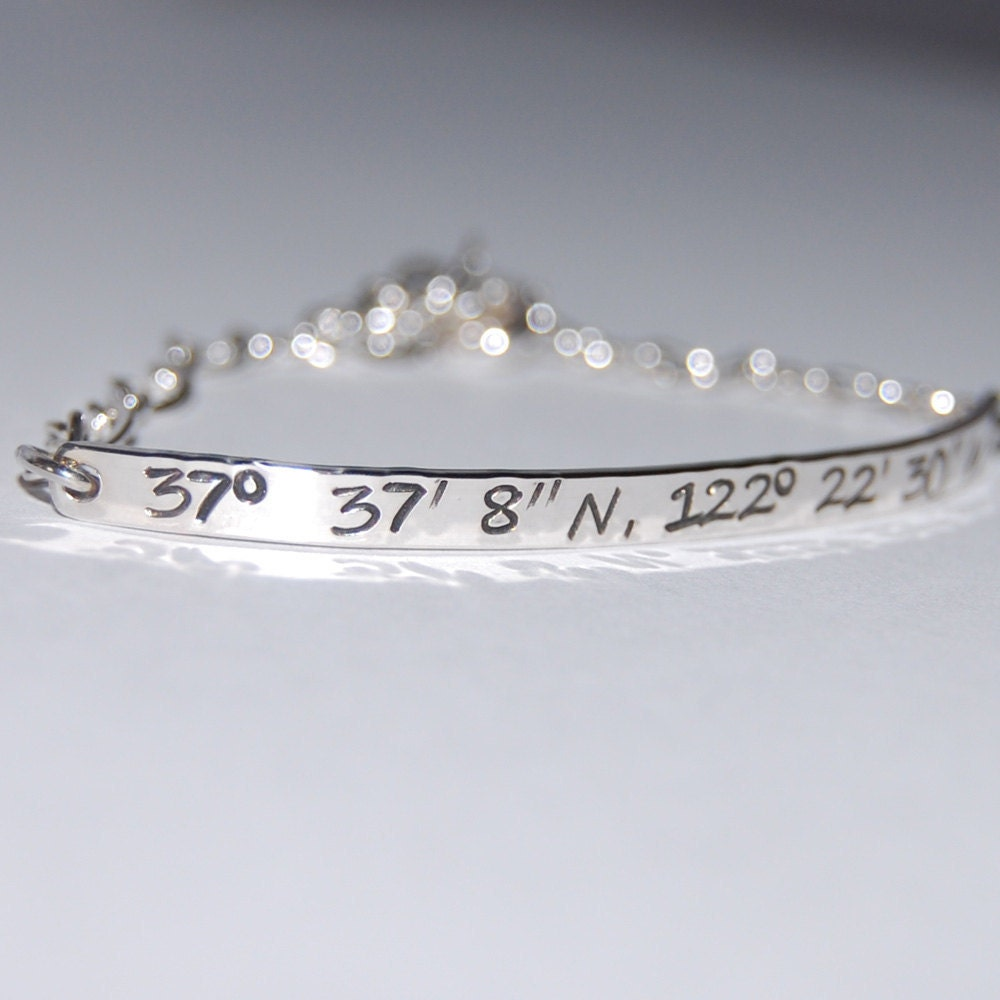 sterling silver gps coordinate bracelet by thesilverartisan