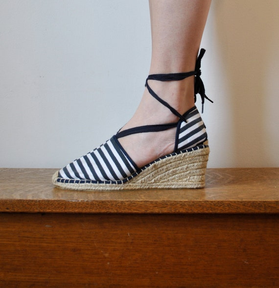 vintage blue and white nautical striped espadrilles wedge