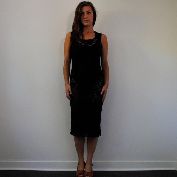 vintage dress / black lace grunge maxi dress (s-m)