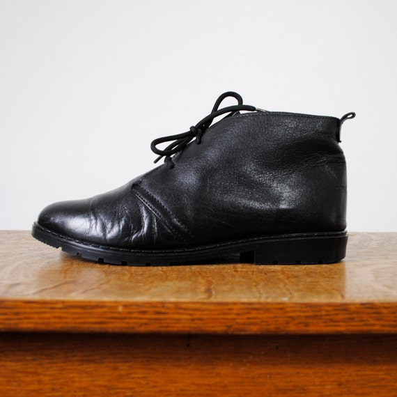 vintage boots black leather lace up ankle boots by