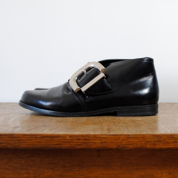 RESERVED /// vintage boots / cropped black leather boots / large buckle (size 7.5 eur 38)