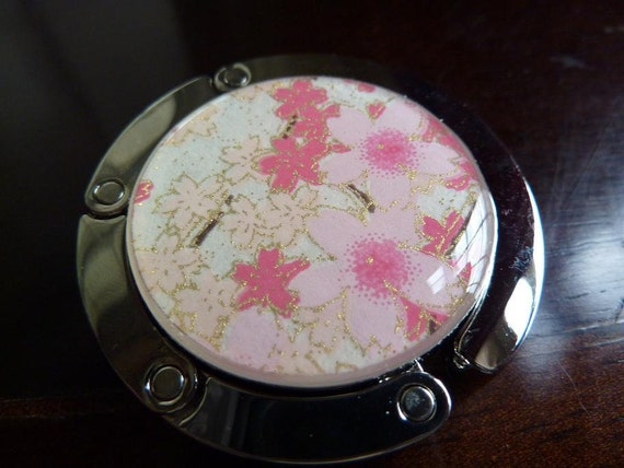 Foldable Purse Hanger Hook Japanese Chiyogami Pink & Peach Cherry Blossoms